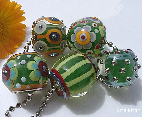 lina khan lampwork beads linou emerald beads with fantasy flowers
