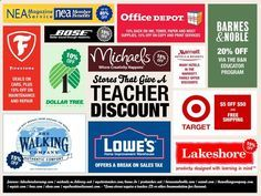 Places That Give Teacher Discounts- wait, DOLLAR TREE gives a teacher discount?!