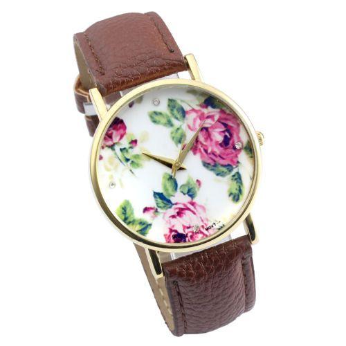 Vintage-Rosen-Retro-Blume-Damen-Armbanduhr-Basel-Stil-Quarzuhr-Lederarmband-Uhr