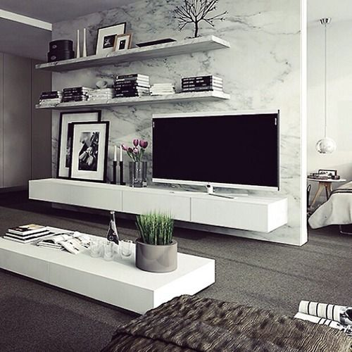 TV Unit And Shelving And Marble Room Divider