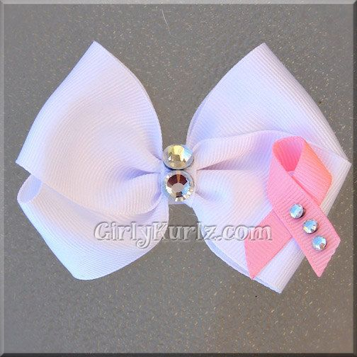 White+Breast+Cancer+Awareness+Hair+Bow+by+GirlyKurlz+on+Etsy,+$6.15