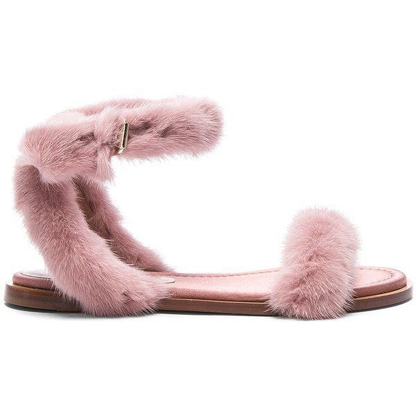 Valentino Mink Fur Sandals ($1,390) ❤ liked on Polyvore featuring shoes, sandals, valentino sandals, mink shoes, leather sole shoes, valentino shoes and wrap sandals