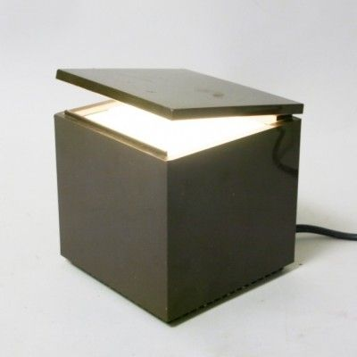 Located using retrostart.com > Cuboluce Brown Desk Lamp by Mario Melocchi and Franco Bettonica for Cini Nils