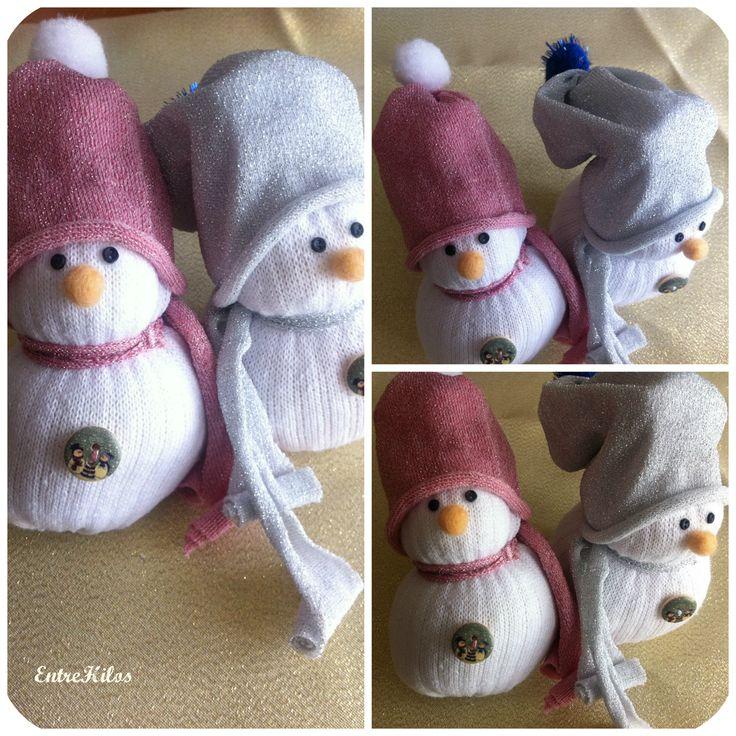 Diy c mo hacer un mu eco de nieve con un calcet n nieve - Como hacer un muneco ...