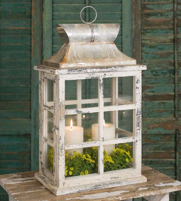 "Distressed Large Windowpane Lantern The Distressed Large Windowpane Lantern has a country-chic appeal, ideal for creating soft ambiance in style. This large lantern stands 20"" tall, making it fitting"