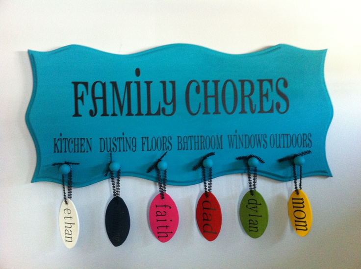 Family Chore Chart  https://www.etsy.com/listing/111771554/family-chores-wood-sign-with-name-tags