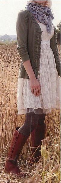 Lace dress, bow belt, cozy tights, tall boots, ruffle sweater, cardi....LOVE