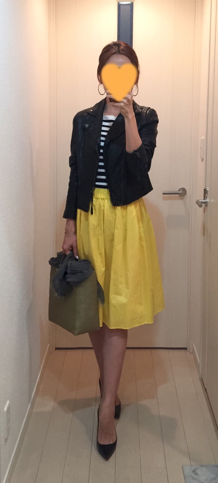 Leather jacket: IENA, Striped top: H&M, Yellow skirt: Nolley's, Bag: la kagu, Pumps: Christian louboutin
