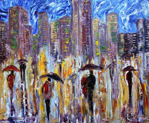 Original oil painting City Rain Silhouette Night by Karensfineart