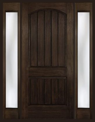 Arch Plank Square Top Rustic Fiberglass Door with 2 Sidelights