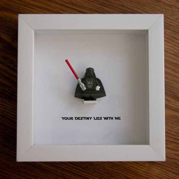 Art frame feature one LEGO® Star Wars® minifigures, Darth Vader with the famous quote: 'Your Destiny Lies With Me' beneath. Its the perfect