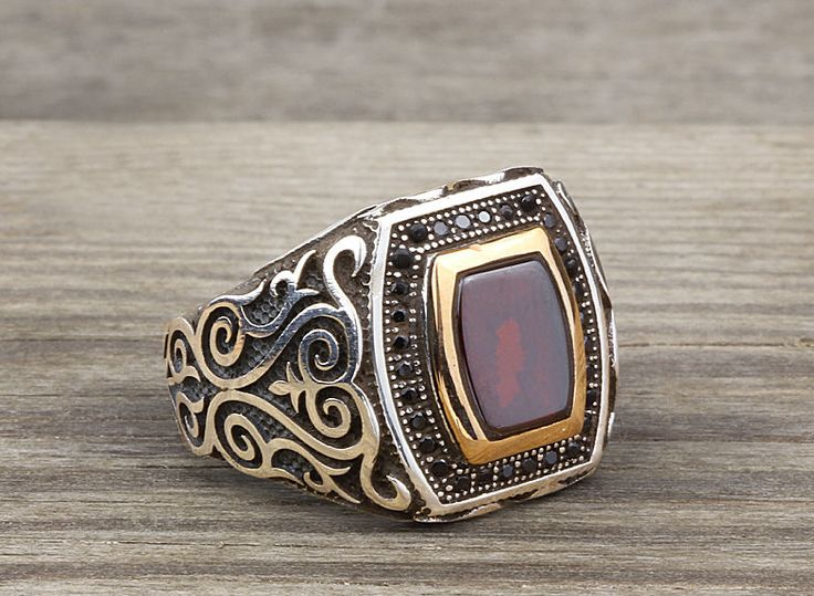 925 K Sterling Silver Man Ring  Brown Agate Gemstone 12 US Size B14-63638 #istanbuljewelry #Statement