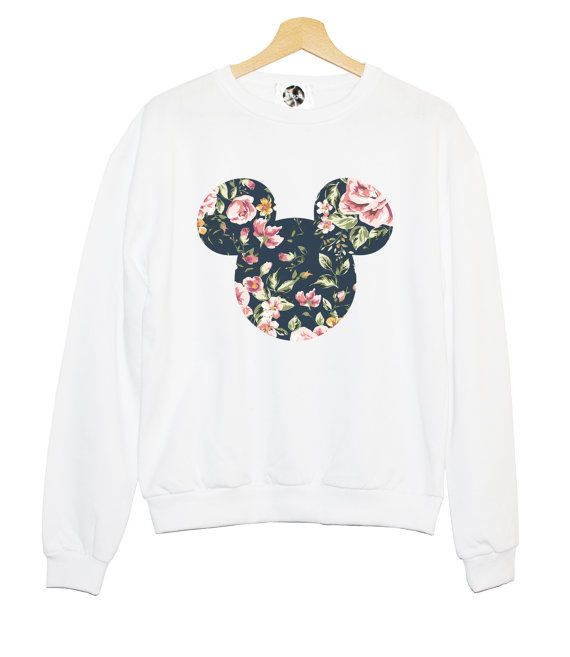 FLORAL MICKEY SWEATER sweatshirt jumper hipster grunge retro paris fashion tumblr heart pink cara funny cool teen girl