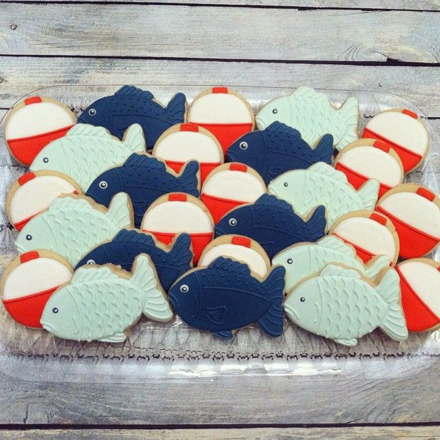 Fish and bobbers for a baby shower #decoratedcookies #customcookies #cookies…