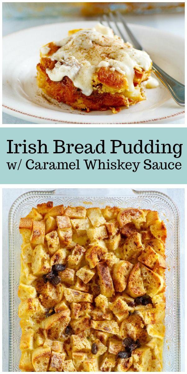 Irish Bread Pudding with Caramel Whiskey Sauce recipe from RecipeGirl.com #irish #whiskey #breadpudding #dessert #recipe