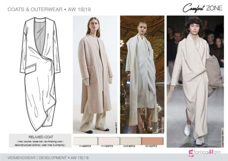 FW 208-19 Trend forecast: RELAXED COAT, maxi volume, loose line, deconstructed sartorial, development designs by 5forecaStore Fashion trend forecasting.