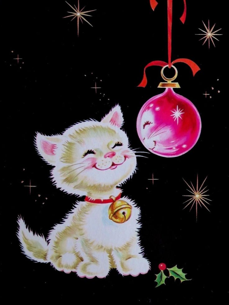 """VINTAGE Christmas Card 1960s Adorable Kitten Looks @ Reflection In PINK Ornament - $20.00. Vintage Greeting Card ~ Used with name typed inside and card style # ~ Glossy ~ Approx. 7 1/4"""" x 4 1/2"""" ~ A Crisp Clean Card with bright bold colors ~ Card came out of a 1963 Process Corporation Salesman Sample Book ~ *back of card has a little paper/glue residue* ~ *The last two photos are for reference purposes ONLY and are NOT included in the sale* ~ If you buy more than one ..."""
