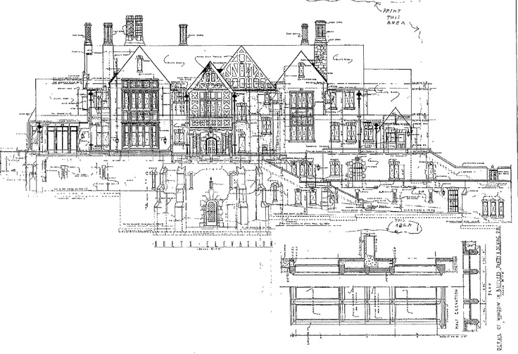 Original Rear Elevation from the 1920's, Notice the