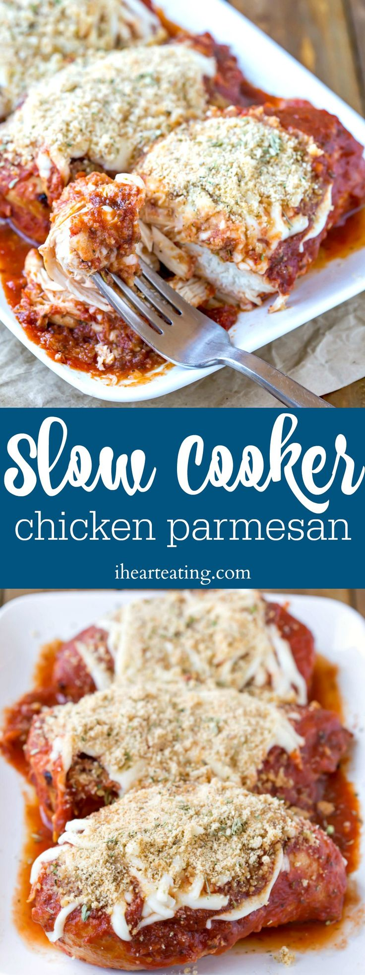 Slow Cooker Chicken Parmesan recipe makes tender chicken breasts topped with marinara, melty cheese, and an easy crunch topping! Great crock pot dinner!
