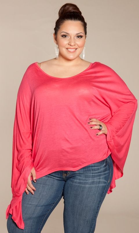 A slub-knit plus size batwing top in icy shades for a night on the town. A dramatic style in soft, jersey knit. Semi-sheer material with a relaxed drape to it. Perfect to wear with skinny jeans or leggings.