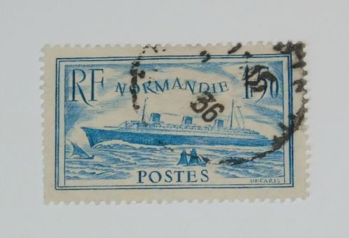 Stamp Pickers France 1935 SS Normandie Turquoise Variety Scott #300c $40