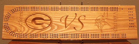 Packer VS Viking Cribbage Board Made From Solid by josephshimko