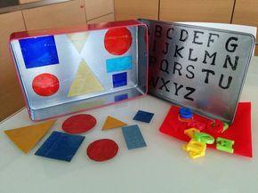 Come realizzare un gioco Montessori DIY con una scatola di latta, pennarelli indelebili e piccoli magneti: lettere, figure, numeri.