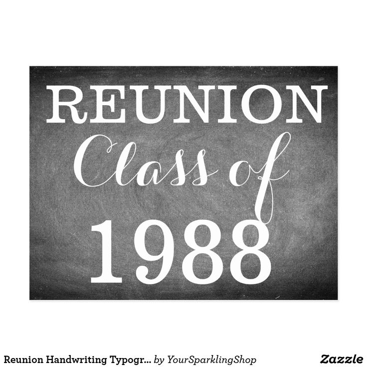 Reunion Handwriting Typography Black White Postcard #reunion #classof1988 or your text