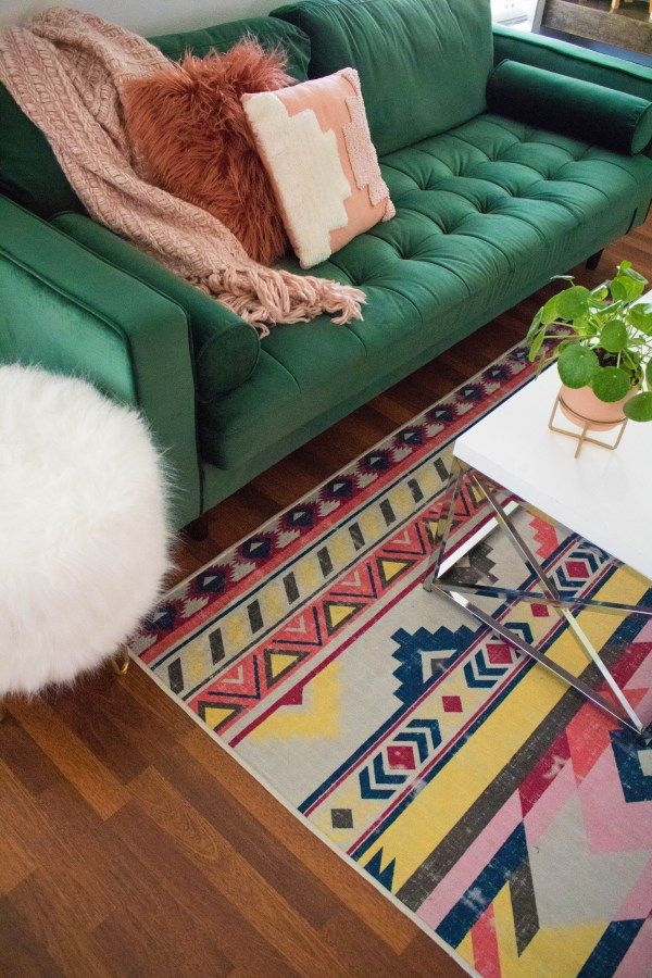 Boho Chic Living Room Green Sofa Aztec Rug Indoor Plant Ideas Boho Chic Living Room Green Sofa Boho Chic Living Room Decor