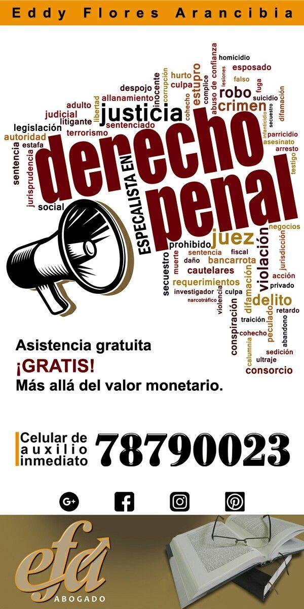 Asesoría legal gratuita Derecho Penal La Paz Bolivia Celular: 78790023