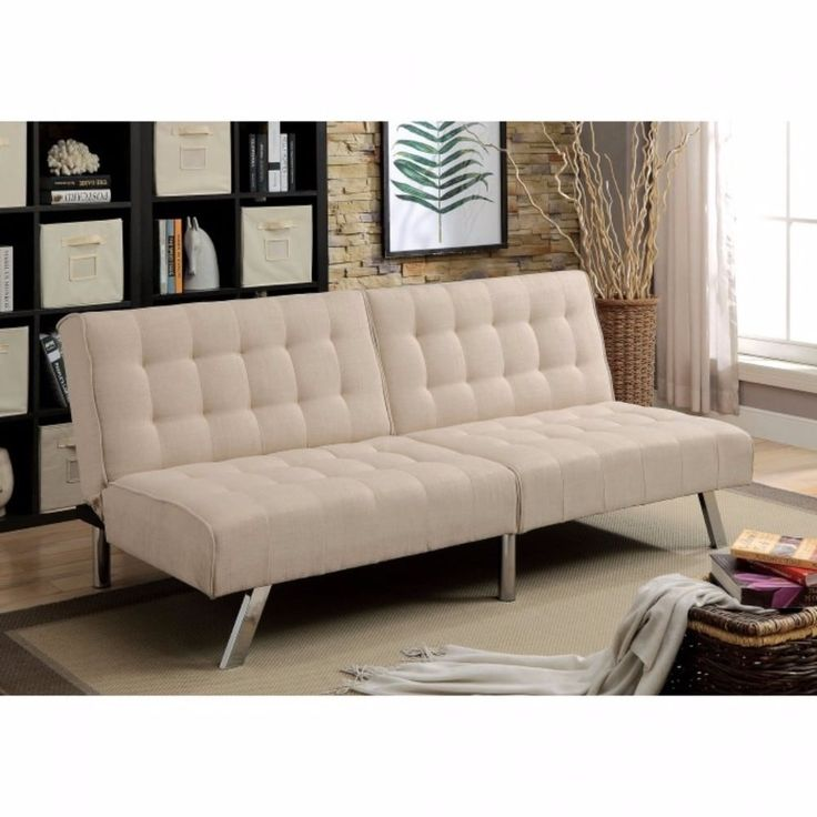 Benzara Arielle Contemporary Beige Metal Futon Sofa, Size Chair