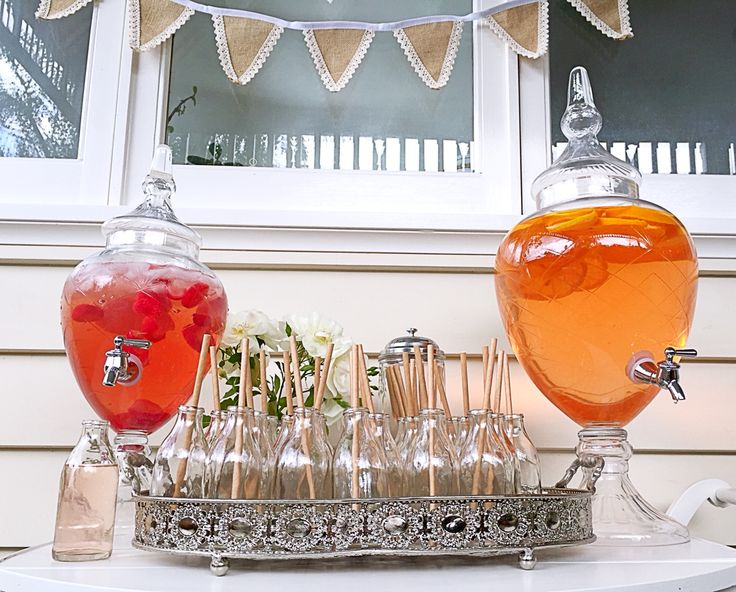 Etched glass drinks dispensers & mini glass bottles are perfect to keep guest entertained