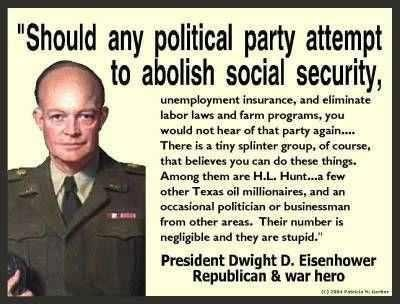 ~ President Dwight D. Eisenhower President Eisenhower would turn over in his grave to learn how many Republican Party voters bought right into the propaganda spewed by highly paid, attractive, talking heads of media outlets like Faux News.  He would be shocked that Americans have allowed themselves to be divided from within by Tea Party/Corporate propaganda. They have turned Americans against each other.
