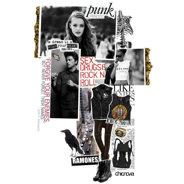 Punk Princess CHICNOVA 23. by kariika on Polyvore featuring Paul Frank, vintage, backpacks, biker boots, canvas backpacks, spike bracelets, grunge, ring, black and modell