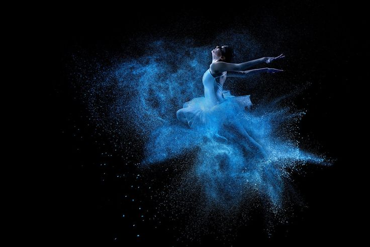 Young beautiful dancer jumping into blue powder cloud by Gergely Zsolnai on 500px