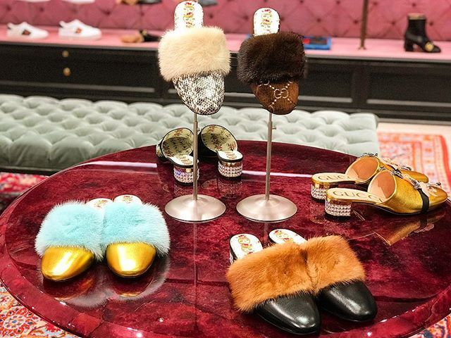 So #wintry #Gucci #Leather #slide with #mink #fur #Shoes  I like the #metallic ones #woman #fashion #style #winter
