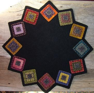 Squared Up Table Mat - cute variation on a penny rug!