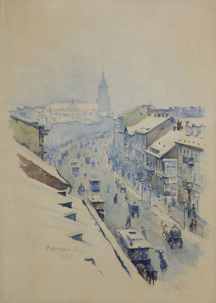 Władysław Podkowiński, Widok na Nowy Świat w Warszawie zimą, 1892 rok