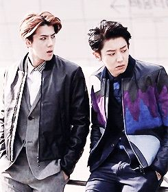 EXO | SEHUN and CHANYEOL I really like Chanyeol's jacket. I would wear that. Probably costs a fortune, unfortunately...