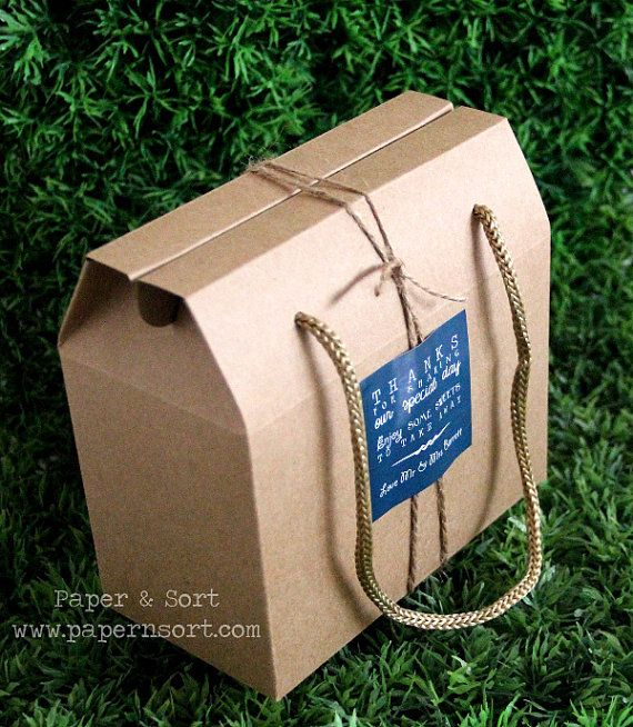Wholesale - 50 Small Vintage Style Gable Boxes/ Lunch Boxes - Kraft Brown Paper Box/ Bag with String Handles - Party/ Wedding Favor Box/ Bag...