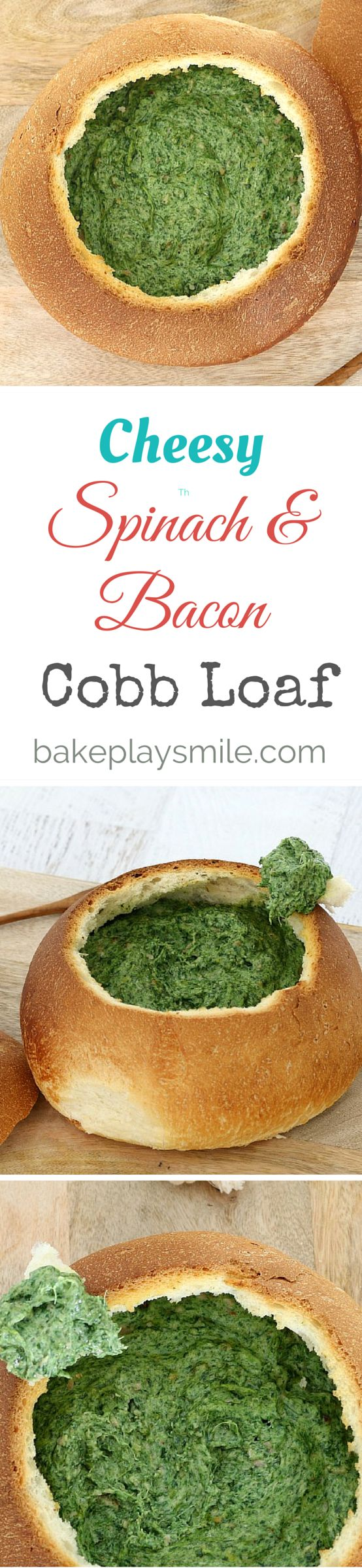This is the BEST cobb loaf in the world!!! You can eat the WHOLE thing which means there's no dishes afterwards. This easy and cheesy spinach & bacon cobb loaf really is the perfect party food! #cobb #loaf #cheesy #bacon #spinach #easy #party #food