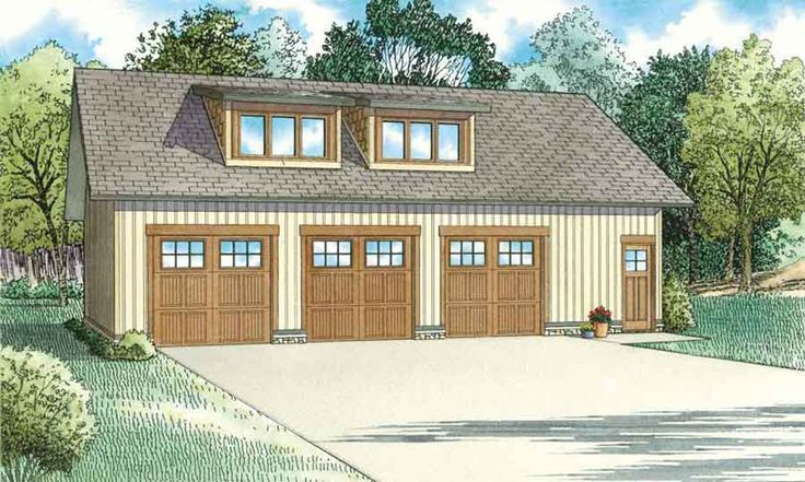 1652 3-Car Garage plan with living quarters   Nelson Design Group