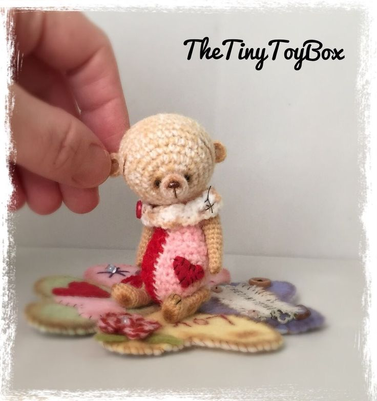 OOAK ARTist Miniature Bear Doll Vintage Style Prim TheTinyToyBox Thread Crochet