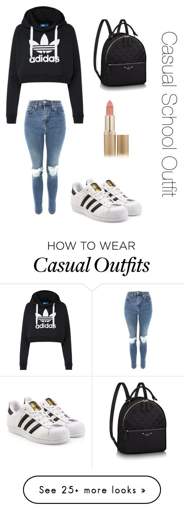 """Casual School Outfit"" by smiley120 on Polyvore featuring adidas Originals, Topshop and L'Oréal Paris"