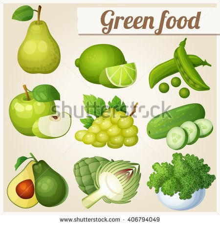 Set of cartoon icons. Green food Fruits and vegetables. Pear, lime, green peas, apple, white grape, cucumber, avocado, artichoke, kale