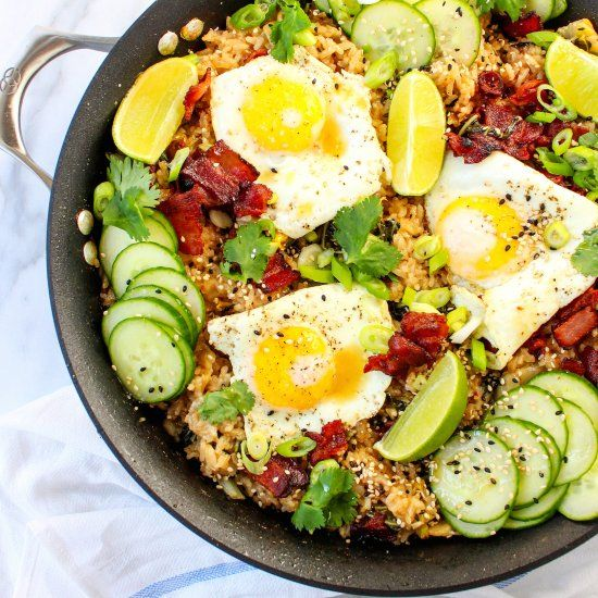 Kimchi Fried Rice with Eggs and Bacon - a quick and easy meal that comes together with leftover rice and pantry staples!