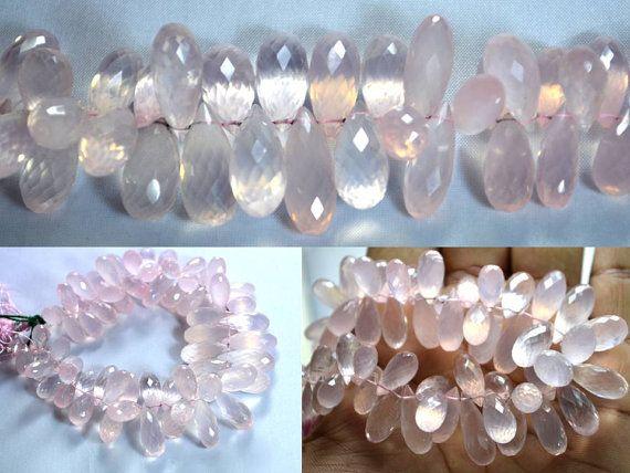 Rose quartz drops faceted beads strands (Code-22\75)..  #rosequartz #dropsfacetedbeads