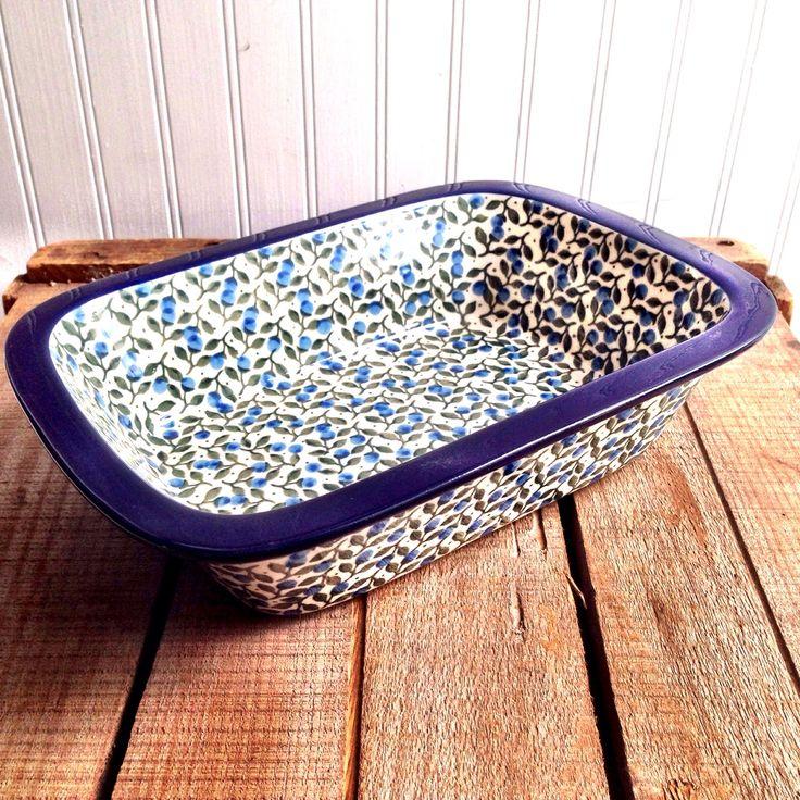 New Polish Stoneware Rectangular Baker mini blueberry pattern | LaBelle's General Store
