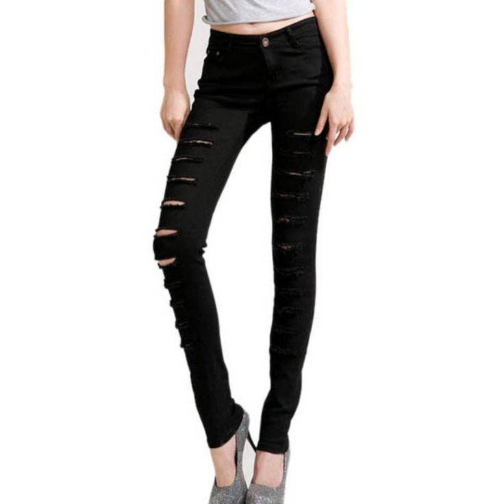 Leggings Black Ripped Skinny Jeans