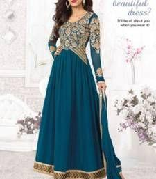 Buy Navy Blue resham-embroidery Georgette semi-stitched salwar with dupatta anarkali-salwar-kameez online